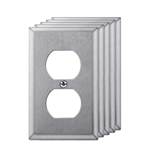 [5 Pack] BESTTEN Duplex Receptacle Outlet Metal Wall Plate, 1-Gang Standard Size, Anti-Corrosion Stainless Steel Outlet and Switch Cover, Industrial Grade Stainless Steel, Silver