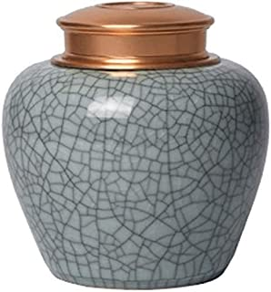 Cremation Urn for Ashes & Mortal Remains, Handmade Ceramics Beautiful Funeral Urns for Humans and Pets, 2 Metal Sealing Co...