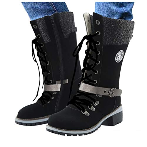 Damen Winter Stiefel, Damen Buckle Knitted Mid-Calf Boots, Warm Square Heel Schuhe Casual Long Tube Denim Fashion Boots, Mid-Calf Boots Low Heel Round Toe Boots (Schwarz, 39)