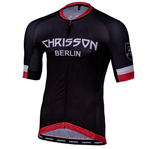 CHRISSON Essential 4XL Rot Fahrradtrikot Kurzarm für Herren, Atmungsaktive und Schnelltrocknende Fahrradbekleidung, Radtrikot mit Reißverschluss, Fahrrad Trikot für Männer mit 3 großen Rückentaschen