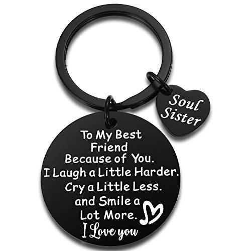 Best Guy Friends Friendship Gifts - to My Best Friend Sentimental Keychain Birthday Graduation Christmas Gifts Black Steel