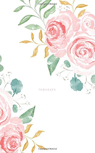 Thoughts: 100 Page Lined Notebook | 5x8' Pink Floral Watercolor