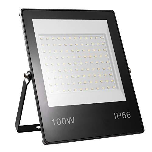 Faretto LED da Esterno 100W Yinet-EU 10000LM Faretto LED Proiettore Bianco Freddo 6000K Luce di Sicurezza Ultra Sottile Impermeabile IP66 Lampada Esterno LED Floodlight per Garage Giardino