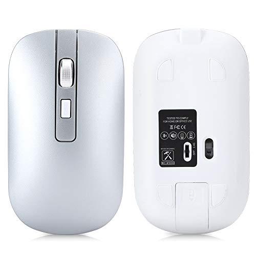 Goshyda Ratón inalámbrico, Universal M50 Bluetooth 5.1 Juego Recargable de Modo Dual Ratón de Oficina Super Mute para computadora portátil de Escritorio(Plata)