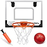 Premium Boost Over The Door Basketball Hoop Wall Mount Set Backboard Metal Rim(8') Hanging Board With 16CM Rubber Basketballs Fun Sports Game For Kids Adults Outdoor Indoor Office Home(40CMx30CM)