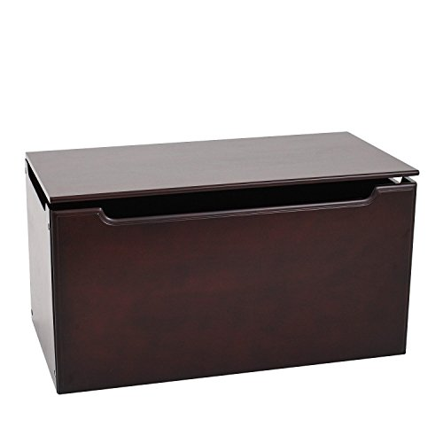 Max & Lily Natural Wood Kid and Toddler Toy Chest, Espresso