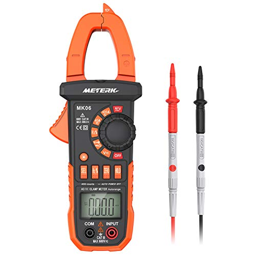 Meterk Digital Clamp Meter Multimeter 4000 Counts Auto-ranging Multimeter AC/DC Voltage & Current Tester with Resistance, Capacitance, Frequency, Continuity, Diode Test, Non-contact Voltage Detection