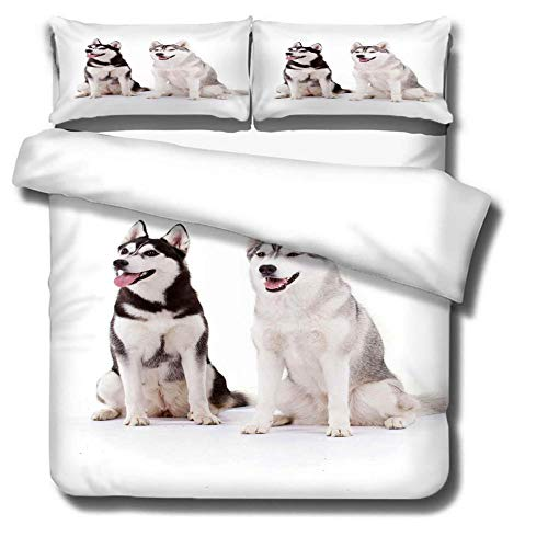 ERBWB Duvet Cover Sets 3 pcs Two Huskies with Zipper Closure + 2 Pillowcases 19.7x29.5 inch- Ultra Soft Hypoallergenic Microfiber Quilt Cover Sets 94.5x86.6inch