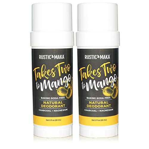 Rustic MAKA Natural Deodorant (Aluminum Free, Paraben Free, No Baking Soda Deodorant for Women, Activated Charcoal + Magnesium, Vegan, Cruelty-Free) - BUNDLE 2 Pack (Takes Two To Mango)
