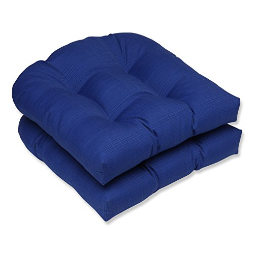 Pillow Perfect Outdoor/Indoor Veranda Cobalt Tufted Seat Cushions (Round Back), 19' x 19', Blue, 2 Pack