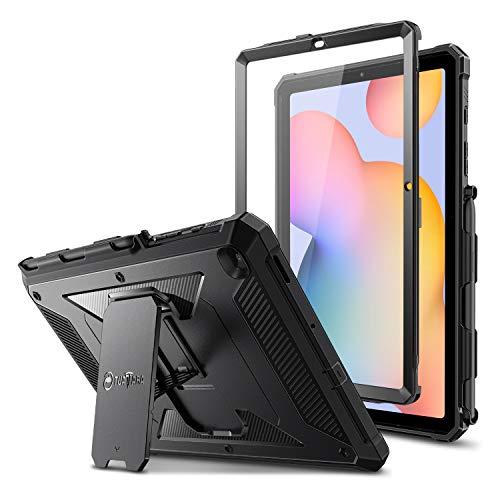 """FINTIE Coque Antichoc pour Samsung Galaxy Tab S6 Lite 10.4""""2020, Housse Robuste Armure avec Béquille Protecteur d'écran Intégré Étui de Protection pour SM-P610/P615, Noir"""