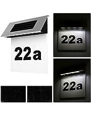 Alaskaprint Zonne-verlichte huisnummer, verlichting, huisnummerlamp met LED-verlichting, verlichte schemerschakelaar, bewegingsmelder van roestvrij staal