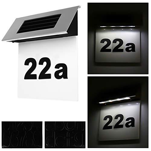 Alaskaprint Numero civico Illuminato a energia Solare, con Illuminazione a 4 LED, Numero civico con Luce a LED, Interruttore crepuscolare, rilevatore di Movimento in Acciaio Inox