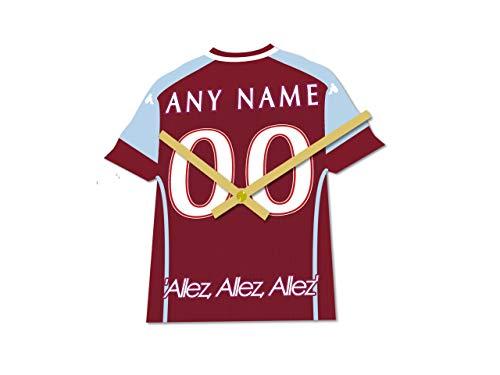 MyShirt123 Aston Villa FC Fußball-Club – Fußball-Trikot-Uhr – jeder Name und jede Nummer – Sie wählen!