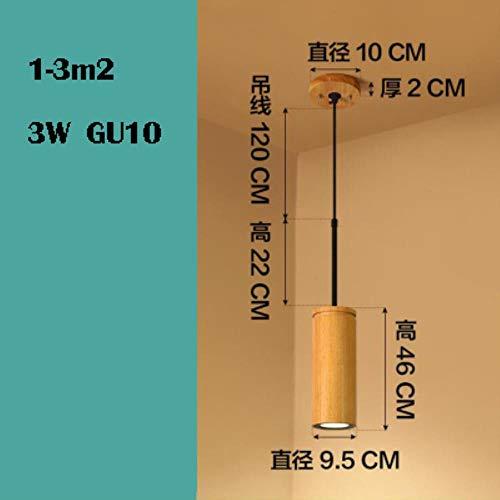 5151BuyWorld hanglamp van massief hout, cilinder van aluminium, lange hanger, moderne LED-lamp, GU10, koord, hanglamp, hoogwaardige kwaliteit