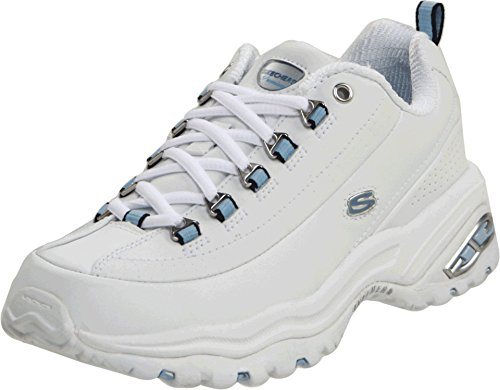 Skechers womens Premium fashion sneakers, White Smooth Leather/Blue Trim, 6 US