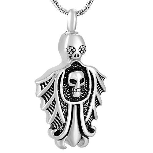 JJPRFO Collar de urna Conmemorativa de Acero Inoxidable con Calavera de Recuerdo de cremación, joyería de cremación, Collar con Colgante de Recuerdo para Hombres, urna