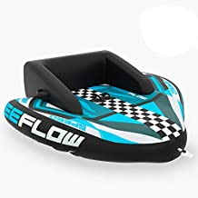 Heavy-Duty Inflatable Towable Booster Tube - Two Person Water Tube Boating Float Tow Raft, Watersports Inflatable Pull Boats/Tubes/Towables w/ Foam Seats, PVC Bladder, Handles - SereneLife SLTOWBL20