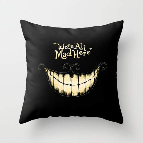4Rissa We're All Mad Here Cheshire Cat Alice in Wonderland Throw Accent Pillow Insert & Case Home Bedroom Patio Decor