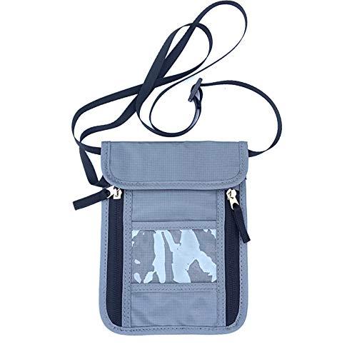 SURCHAR パスポートケース 首下げ パスポートバッグ スキミング防止 セキュリティポーチ 大容量 6ポケット パスポート入れ 航空券対応 軽量 防水 貴重品入れ トラベル ネックポーチ 旅行 海外旅行グッズ グレー