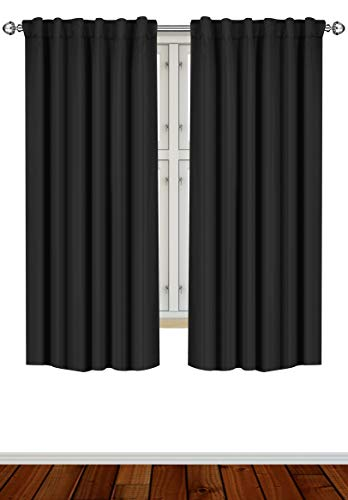Utopia Bedding Blackout Room Darkening and Thermal Insulating Window Curtains/Panels/Drapes - 2 Panels Set - 7 Back Loops per Panel - 2 Tie Backs Included (Black, 52 x 63)