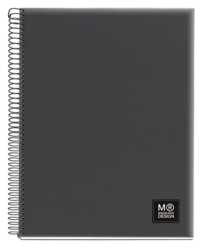 Miquelrius Spiral Notebook, 5 Subject, Graph Pages, 125 Sheets/250 Pages, A4 8.25� x 11.75�, Contrast (Dark Grey)