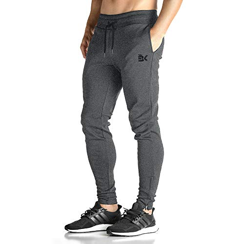 BROKIG Mens Zip Joggers Pants - Casual Gym Fitness Trousers Comfortable Tracksuit Slim Fit Bottoms Sweatpants with Pockets (X-Large, Dark Grey)