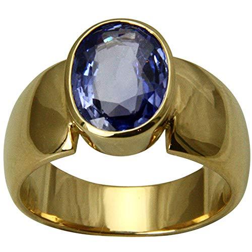 Safir Ring, hochwertige Goldschmiedearbeit aus Deutschland (Gelbgold 750), handgefertigt,Saphir Ring mit Expertise, Goldring, Damen Ring mit echtem Edelstein