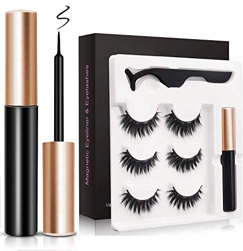 Magnetische Eyeliner Set,wiederverwendbare falsche Wimpern Soft Natural Fake Lashes Kit...