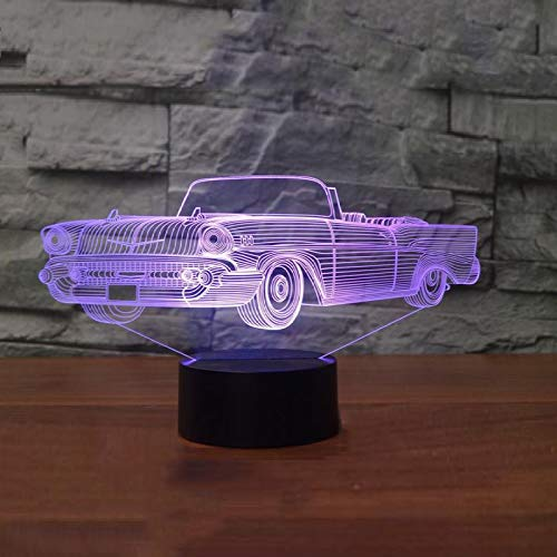 KangYD Cool Convertible Car 3D Night Light, LED Optical Illusion Lamp, F - Bluetooth Audio Base(5 Color), Kid Lamp, Gift for Friend, Colorful Change, USB Powered, Home Decor