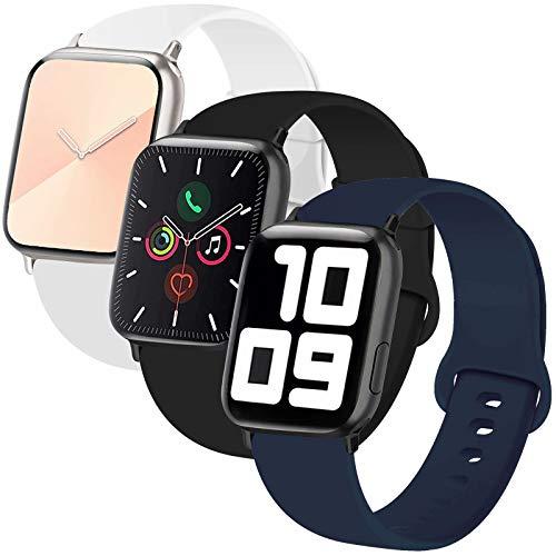 INZAKI 3-Pack Bracelet Compatible avec Le Apple Watch 38mm 40mm,Bracelet de Remplacement Sport Classique en Silicone Souple pour Bracelet pour iWatch Series 6/5/4/3/2/1,Sport,S/M,B/W/Pink