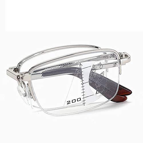 GLASSES Unisex-Lesebrillen, Progressive Mehrfokus-Brillen für Ältere Menschen, Metall-Vollrahmen, Blaulichtblockierung, Anti-Strahlungs- und Anti-Ermüdungs-Lesebrillen
