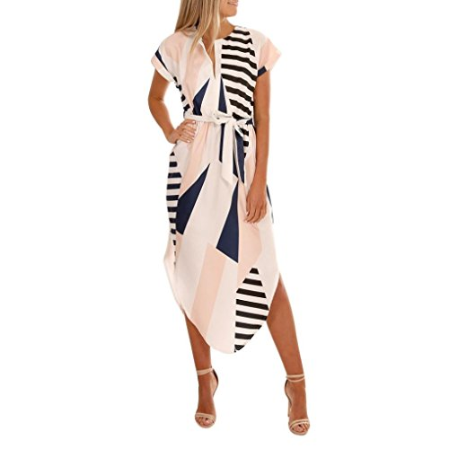 MRULIC Abendkleid Damen Unregelmäßiges Kleid Beiläufiges Kurzes Hülsen-V-Ausschnitt Gedrucktes Maxi Kleid mit Gurt Clubwear Parteikleid