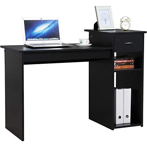 Yaheetech Bureau Informatique avec Tiroir Meuble de Bureau Table de Travail pour Ordinateur 112 x 50 x 82 cm 1 Tiroir et 2 Etagères Noir