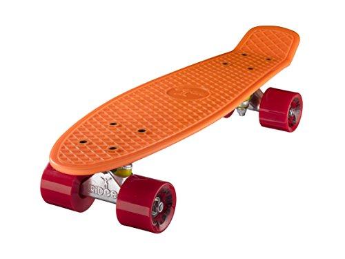 Ridge, Skateboard con ruote, completo e montato, cruiser Retro Stil, 55 cm, arancione/rosso (orange/Rosso)