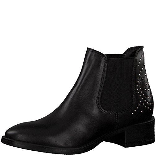 Tamaris Damen Chelsea Boots 25346-21,Frauen Stiefel,Halbstiefel,Stiefelette,Bootie,Schlupfstiefel,Nieten,Blockabsatz 4cm,Black,EU 38