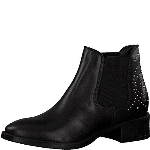 Tamaris Damen Chelsea Boots 25346-21,Frauen Stiefel,Halbstiefel,Stiefelette,Bootie,Schlupfstiefel,Nieten,Blockabsatz 4cm,Black,EU 39