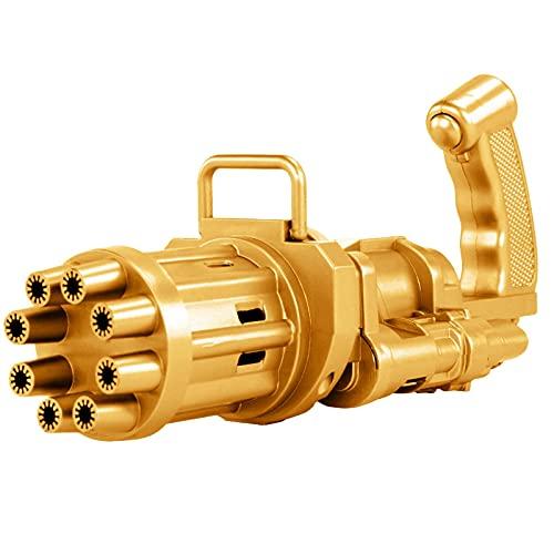 Gatling Maquina de Burbujas para Niños, 2021 Burbuja Eléctrica Genial, Fabricante automático de burbujas de 8 orificios, Regalo de juguetes para niños y niñas al aire libre, Ventilador (Dorado)