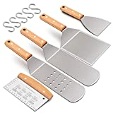 Leonyo 5PCS Griddle Accessories Set, Stainless Steel Grill Metal Turner Spatula - Heavy Duty Food...