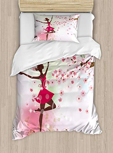 Kids Room Duvet Cover Set by Ambesonne, Ballet Butterfly Fairy Ballerina Princess Dancer Flowers Tree Branch Floral Girls Party Print, 2 Piece Bedding Set with 1 Pillow Sham, Twin / Twin XL Size