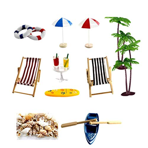 Hemoton 1 Set de Kit de Adorno Miniatura de Playa Pequeña Silla de Playa Barco Árbol Hadas Jardín Bonsai Casa de Muñecas Caja de Decoración 18 Estilo