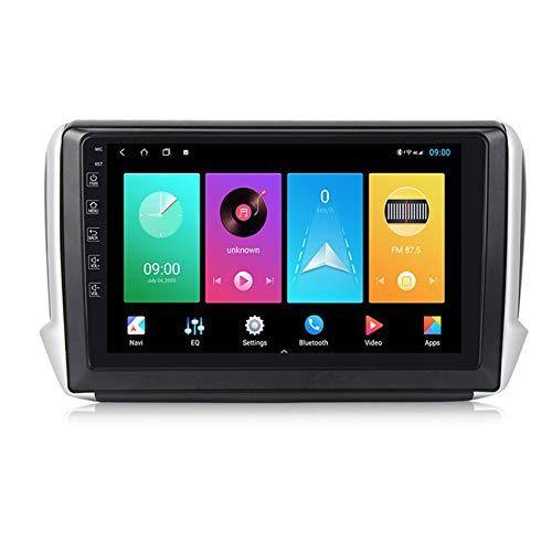 Amimilili Android Radio Stereo con Fotocamera Posteriore Supporta Specchio Link/Controllo del Volante/Bluetooth/Navigazione GPS/USB/FM, per Peugeot 2008 208 2012-2018,M100 1+16g