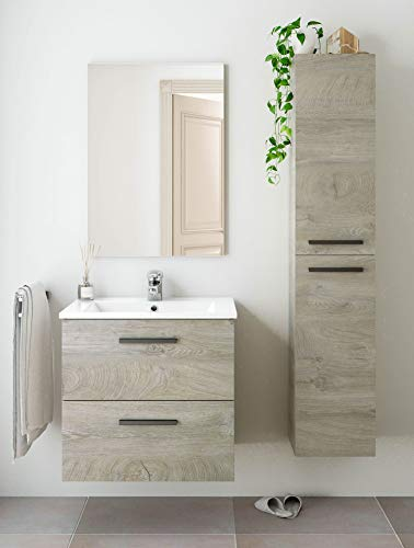 Miroytengo Pack Mueble baño 2 cajones con Espejo, Columna y Lavabo Color Roble Alaska Aseo Incluye LAVAMANOS