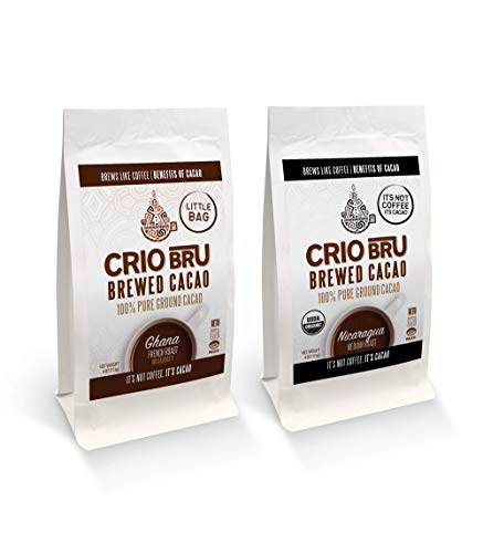 Crio Bru 2 Pack 4 oz Little Bag Ghana Bundle | Organic Healthy Brewed Cacao Drink | Great Substitute to Herbal Tea and Coffee | 99% Caffeine Free Gluten Free Keto Low Calorie Honest Energy