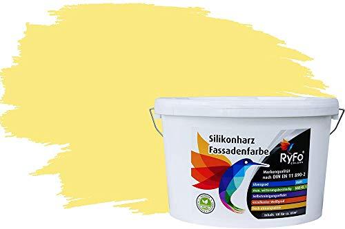 RyFo Colors Silikonharz Fassadenfarbe Lotuseffekt Trend Zitrone 10l - bunte Fassadenfarbe, weitere Gelb Farbtöne und Größen erhältlich, Deckkraft Klasse 1
