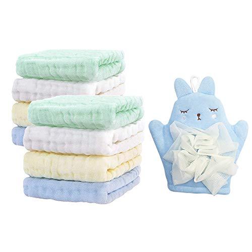 Kit de Toalla Suave para Bebés, 8 Toallitas de Algodón para Bebés, 1 Guantes de Baño para Niños, 1 Cepillos de Silicona de Bebé, para Piel Sensible
