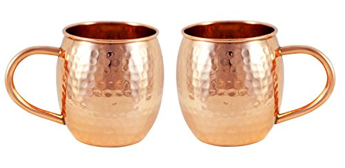 Alchemade Copper Barrel Mug for Moscow Mules - Set of 2-16 oz - 100% Pure Hammered Copper - Heavy Gauge - No lining - includes FREE E-Recipe book