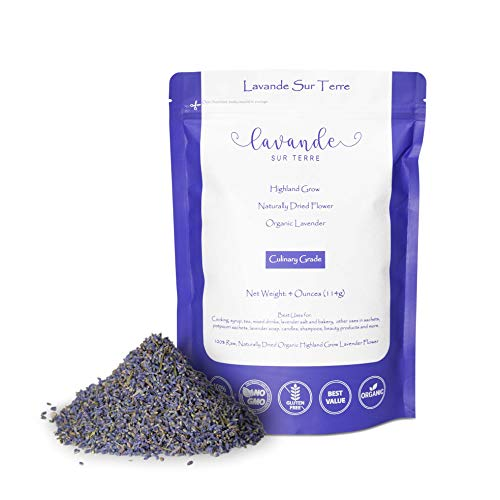 4 Ounces, Organic Culinary Dried Lavender Buds - Lavandula Dentata - Highland Grow Ultra Blue Premium Grade - Gluten-Free, Non-GMO - Perfect for Baking, Lemonade, Salt - by Lavande Sur Terre