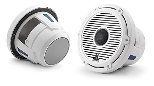 M6-880X-C-GwGw 8.8-inch (224 mm) Marine Coaxial Speakers, Gloss White Trim Ring, Gloss White Classic Grille