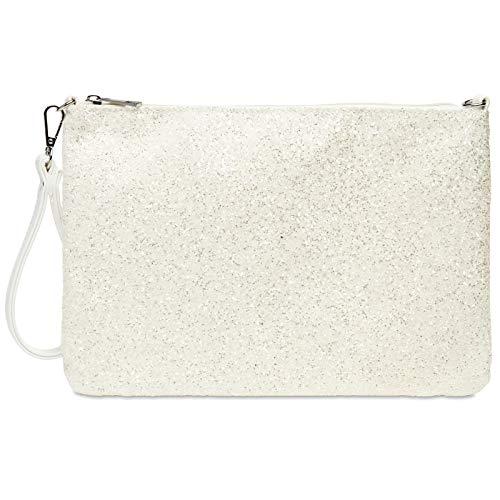 Caspar TA341 Bolso de Mano Fiesta XL para Mujer Clutch Brillante con Lentejuelas, Color:blanco, Talla:Talla Única